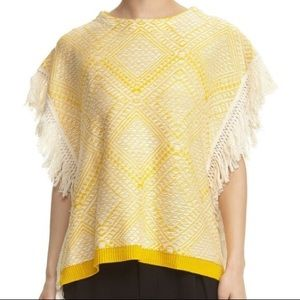 Bishop + Young Fringe Knit Poncho Top Yellow White